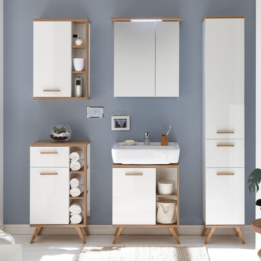 Waschbeckenunterschrank Noventa Weiss Riviera Eiche Dekor Wohnung Spiegelschrank Waschbeckenunterschrank Und Spiegelschrank Bad