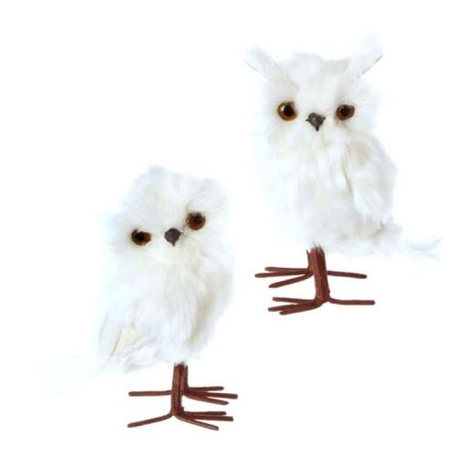 Pair 6 Whimsical White Feather Fuzzy Standing Owl Christmas