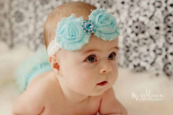 infant Shabby chic headband newborn toddler girl.