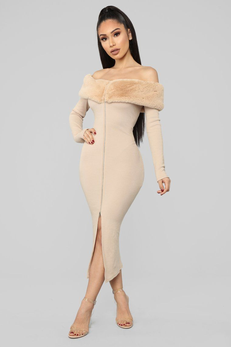 Moscow Moves Off Shoulder Midi Dress Taupe in 2020