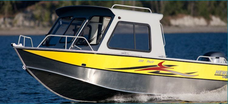 New 2012 Hewescraft Pro V 200 HT Multi-Species Fishing Boat Yellow/Silver with Hard Top.