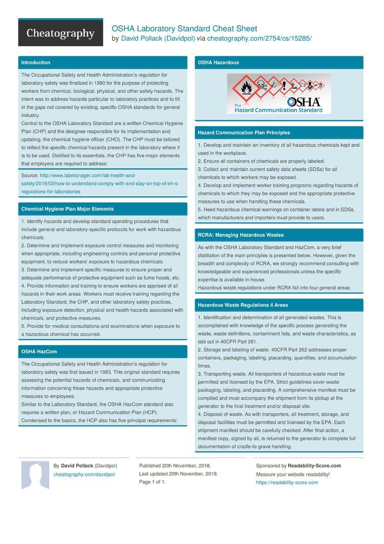 OSHA Laboratory Standard Cheat Sheet by Davidpol http