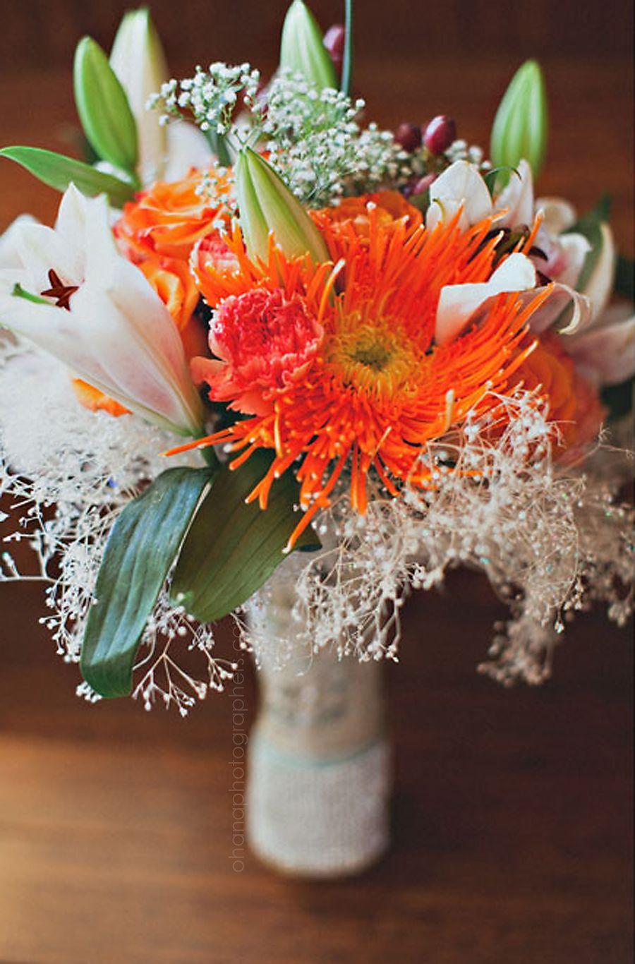 Orange Green And White Wedding Bouquet Bali Hai Wedding In San