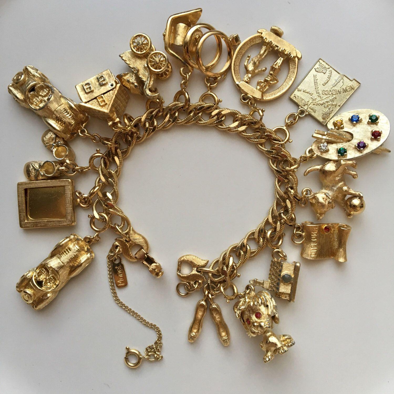 Pin By Deborah Jennings On Charming Darling Gold Charm Bracelet Vintage Charm Bracelet Charm Jewelry