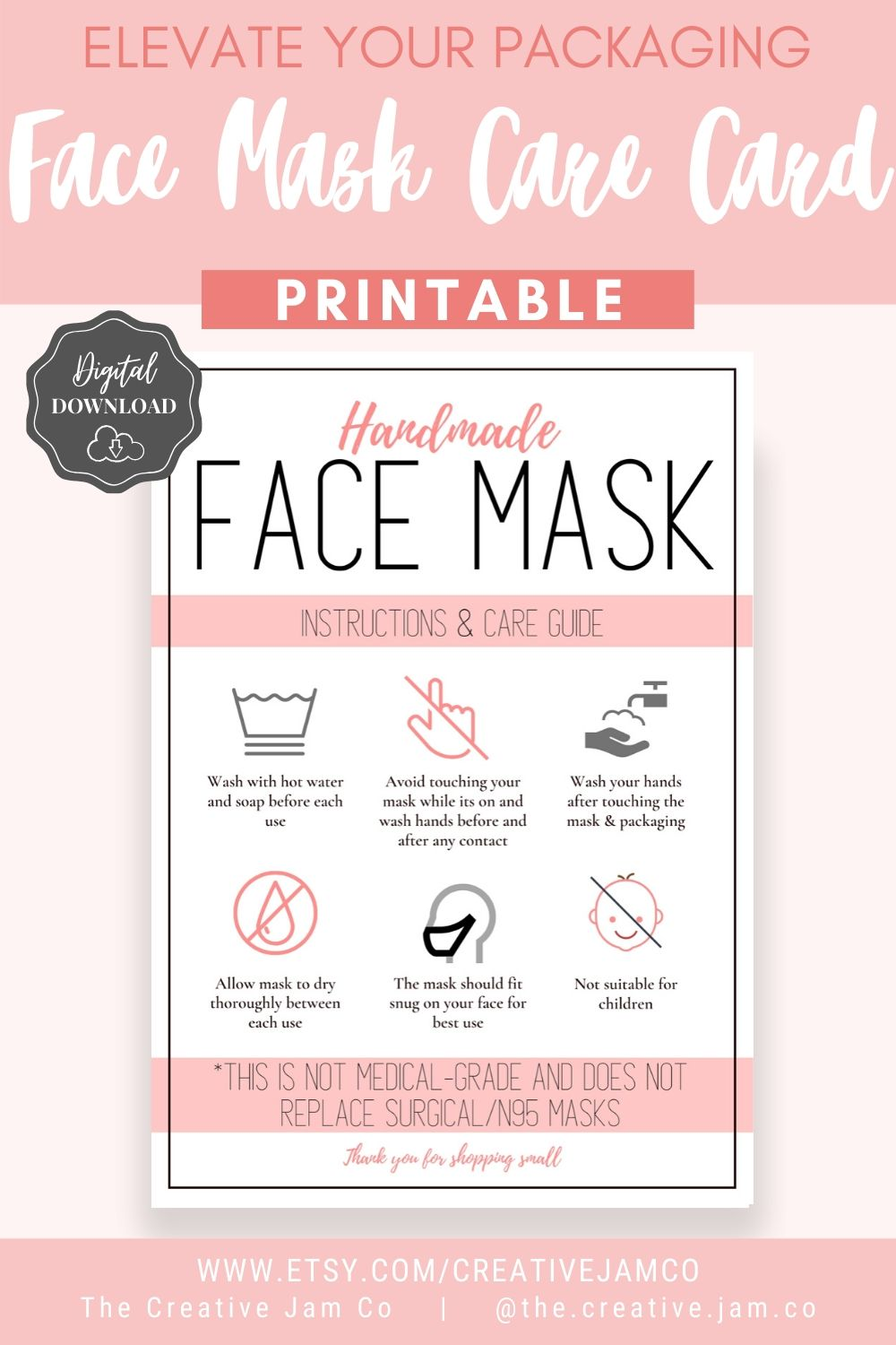 Face Mask Label Care Card How To Handle Order Card Face Mask Printable Instructions Business Labels Face Mask Seller Package Label Tag Face Mask Fashion Face Mask Diy Face Mask