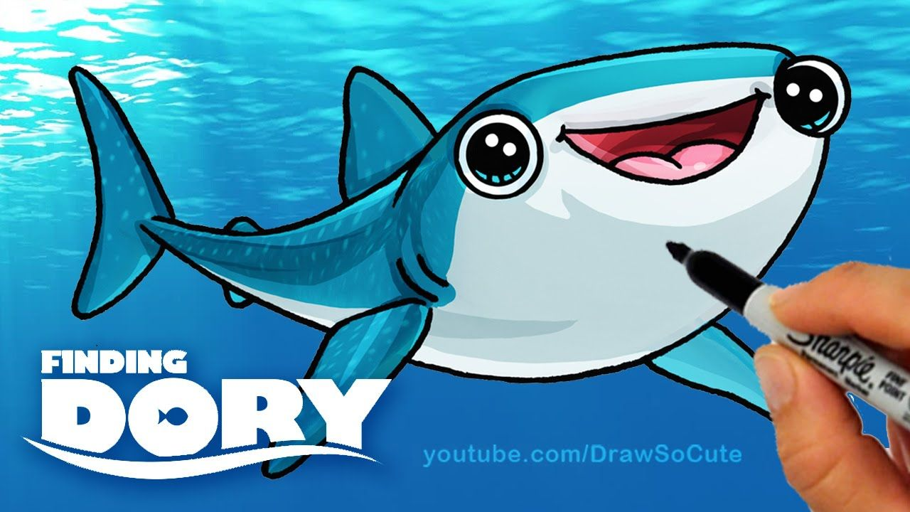 How to draw destiny from finding dory step by step cute whale shark