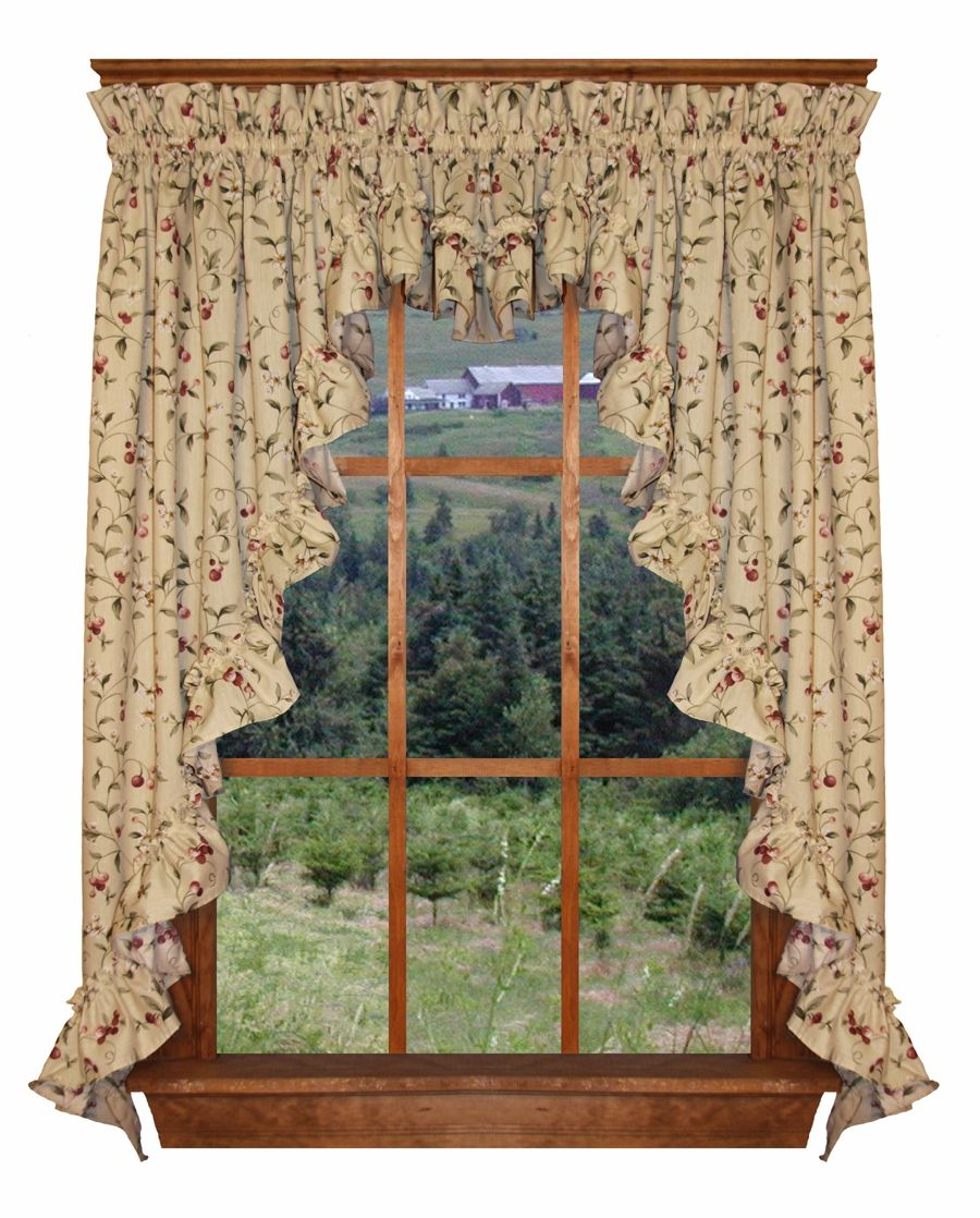 Awesome Cherry Blossoms Country Print 3 Piece Ruffled Swags U0026 Filler Valance Window  Curtains Set Is A Popular Country Ruffled Swags Curtains Set With Floral  Cherry ...