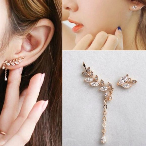 f42171561 Fashion Charm Gold Leaf Crystal Clip on Earrings Fashion Charm Asymmetric  Gold Leaf Crystal Ear Cuff Stud Clip Earrings. They are clip on earring❗️super  ...