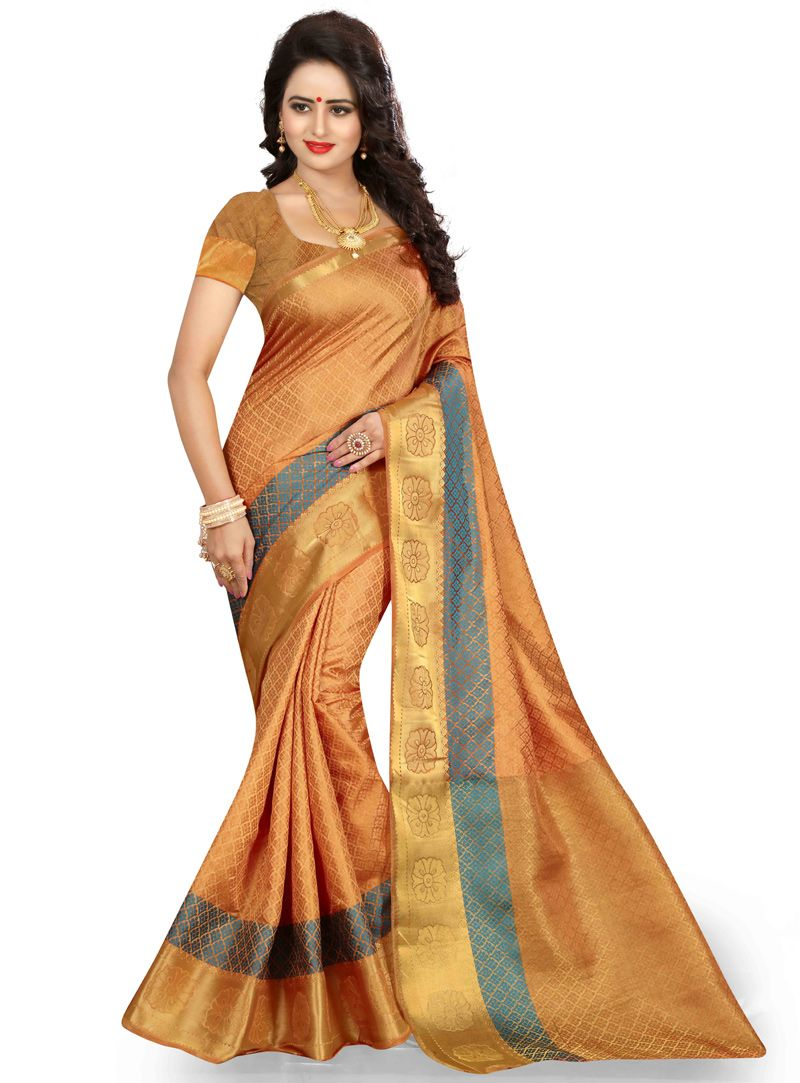Yellow cotton saree for wedding light orange cotton festival wear saree   cotton saree