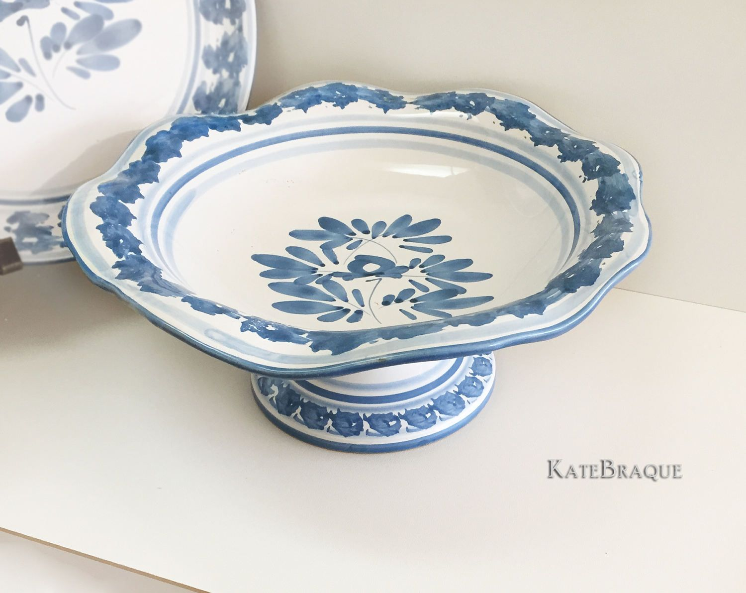 Caltagirone Art Pottery Italy Blue Olive Pattern Ceramic Fruit Bowl by KateBraque on Etsy  sc 1 st  Pinterest & Caltagirone Art Pottery Italy Blue Olive Pattern Ceramic Fruit Bowl ...