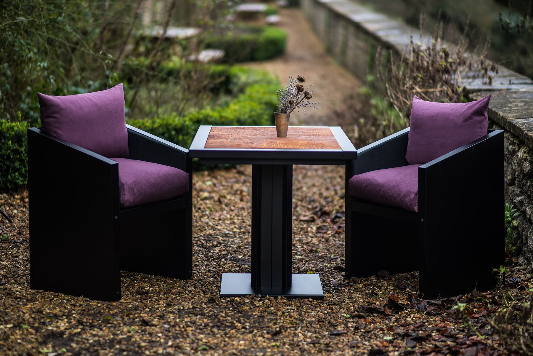 industrial style outdoor furniture. Purple Cushions On Our Industrial Style Chairs And A Rust Top Bistro Table. Outdoor Furniture