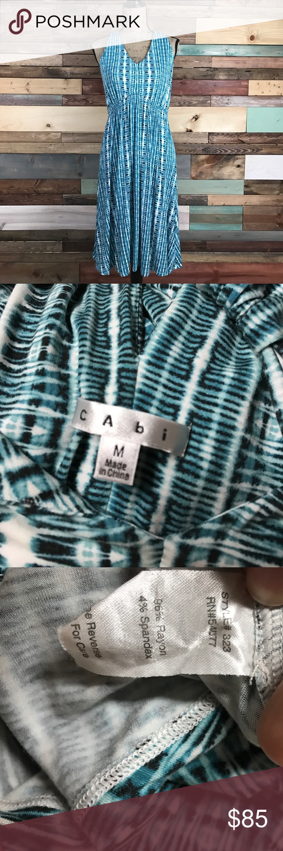 """CAbi Halter Style Teal Tye Dye Pattern Midi Dress CAbi Halter Style Teal Tye Dye Pattern Midi Dress - Medium - Super Soft!!! // Bust: 19"""" // Waist: 15"""" laying flat // Length: 42"""" // Bundle your likes and make an offer for best deals @woodsnap! CAbi Dresses Midi"""