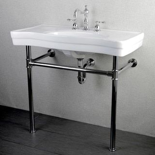 Imperial Vintage 36 Inch Wall Mount Chrome Pedestal Bathroom Sink Vanity