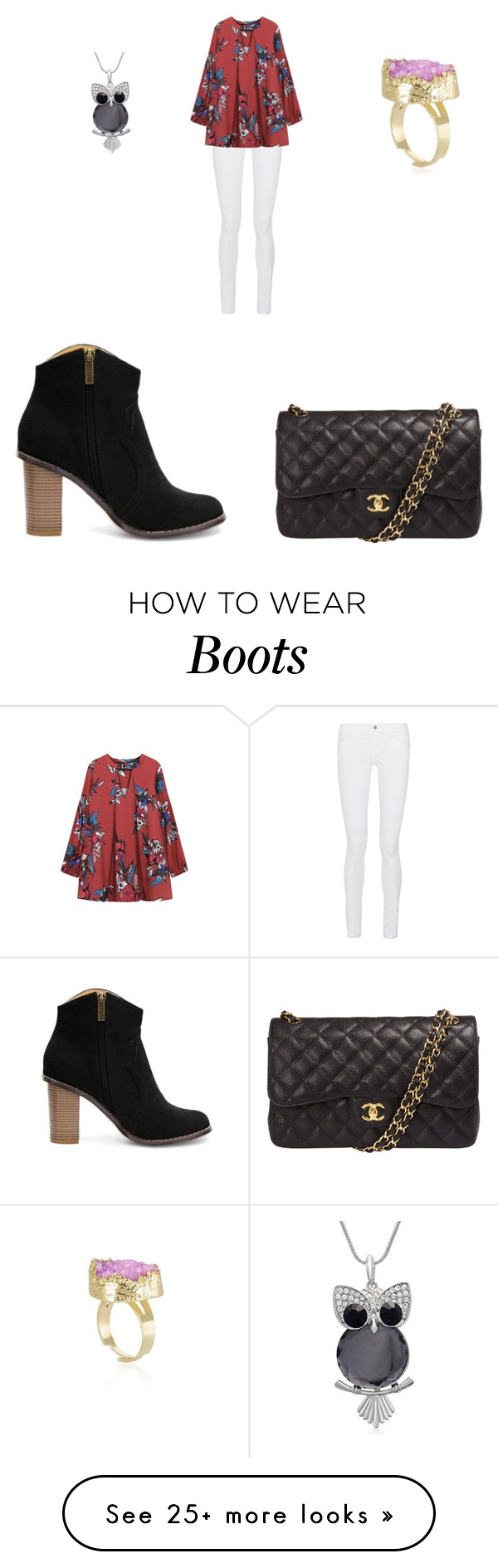 """Ankle Boots"" by morgan-roberts0228 on Polyvore featuring Frame Denim, Chanel, women's clothing, women's fashion, women, female, woman, misses and juniors"