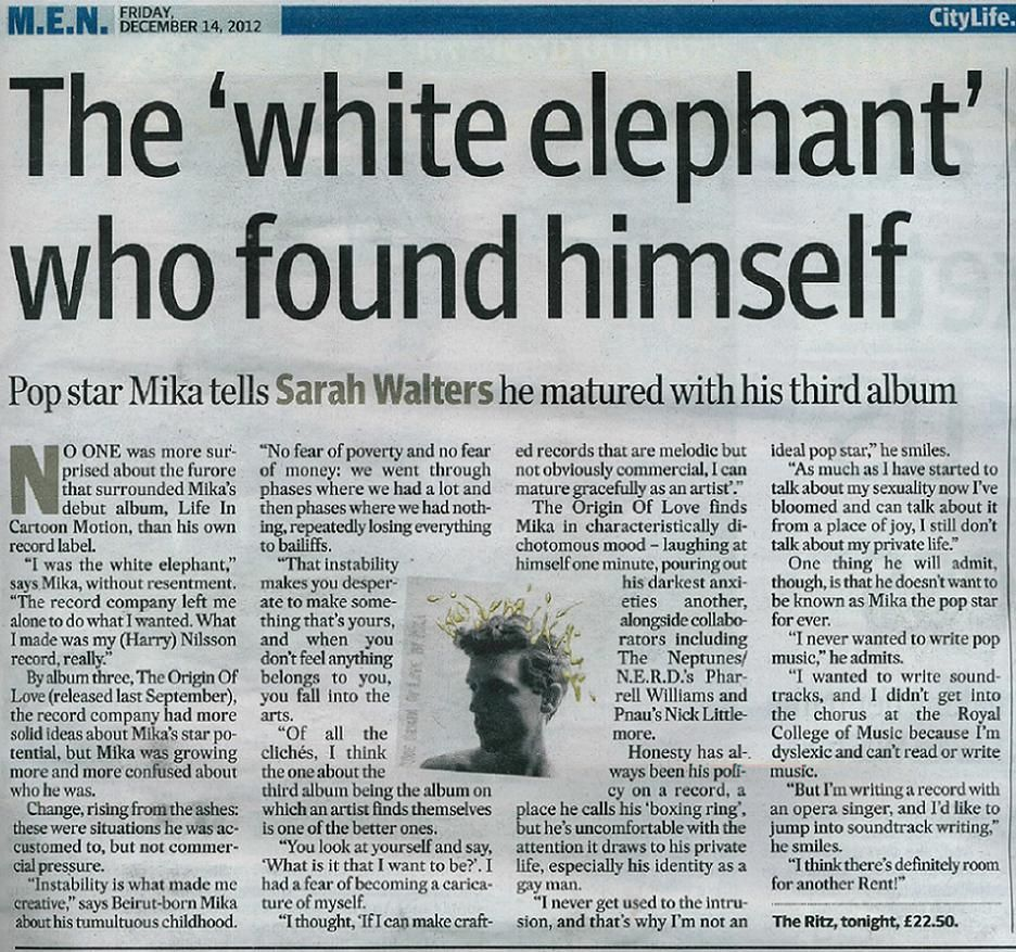 """""""Mika Making It His Way Now"""" Manchester Evening News"""