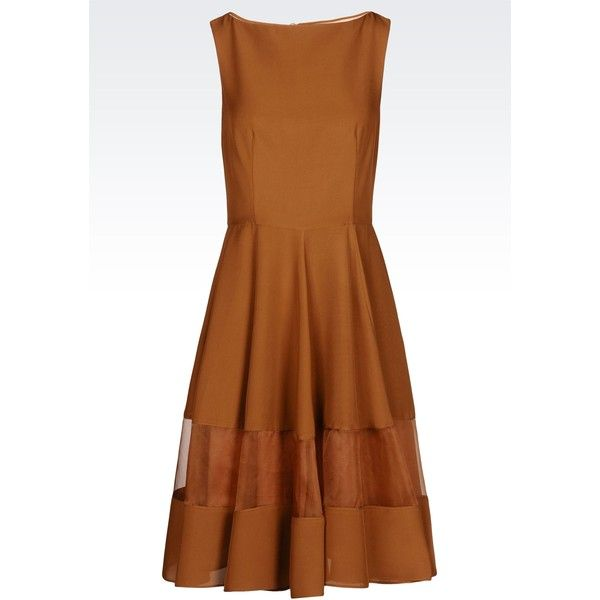 EMPORIO ARMANI Dress In Light Cady (850 NZD) ❤ liked on Polyvore featuring dresses, short dresses, brown, mini dress, sleeveless short dress, zip dress, emporio armani dresses and no sleeve dress