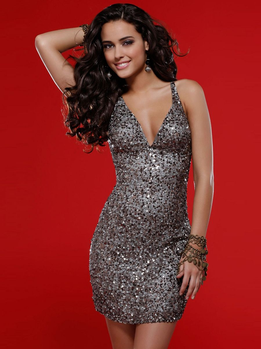 Sexy Sequin Dress For Homecoming Sequins Beaded Silk With Natural ...