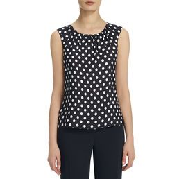 Our sleeveless shell with polka dots features an ultra-feminine gathered neckline. It's lightweight, flowy and fabulous. Perfect with a skirt or pants. Definitely one of your wardrobe's MVPs this season. Women's sleeveless tops.  . Polyester, Exclusive Of Decoration . Pull Over . Approx. Length is 24 in. . Sleeveless . Machine Wash . Imported . Style Code: 10475239