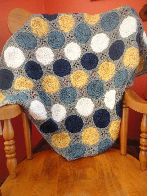 Navy White And Mustard Wavy Ripple Crochet Baby Blanket Crochet Blanket Chevron Baby Boy Crochet Blanket Diy Crochet And Knitting
