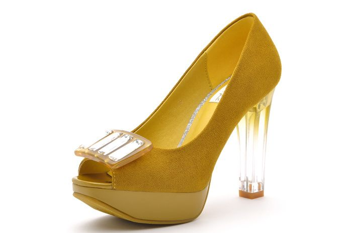 Aliexpress.com : Buy Free Shipping !!! MOOLECOLE 2013 New Arrival Yellow Crystal Heels  PU Leather  Women High Heels,Women Peep toe Sandals, Pumps from Reliable sandal pumps suppliers on Guccn $45.48