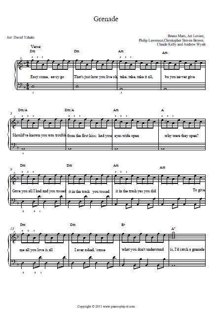 Bruno Mars Grenade Piano Tab | Music