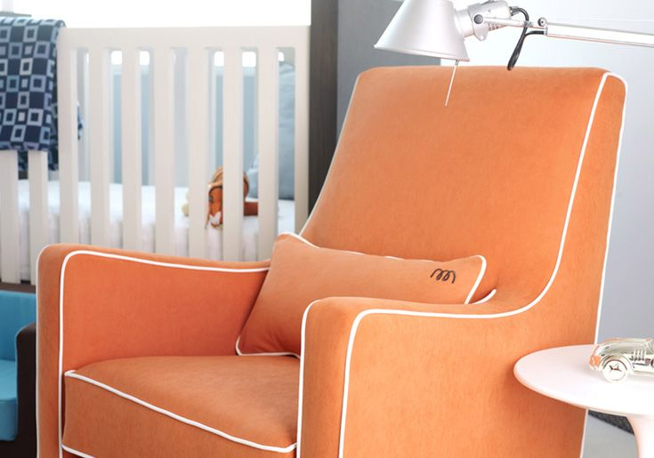 Monte Design Modern Nursery Furniture Upholstered Luca Glider In Orange With White Piping Available A Variety Of Colors The Is