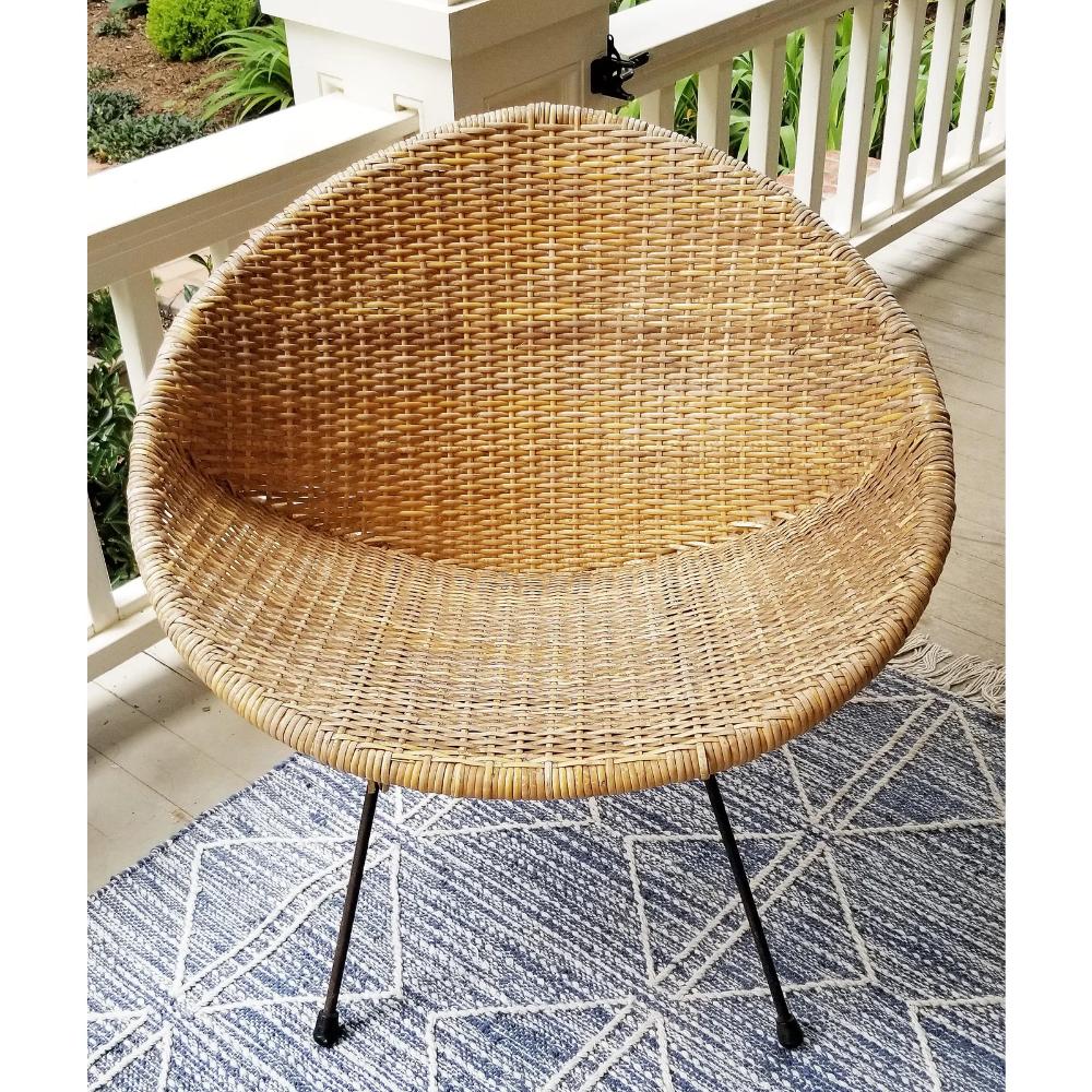 Vintage Mid Century Modern Rattan & Wrought Iron Hoop Chair ...