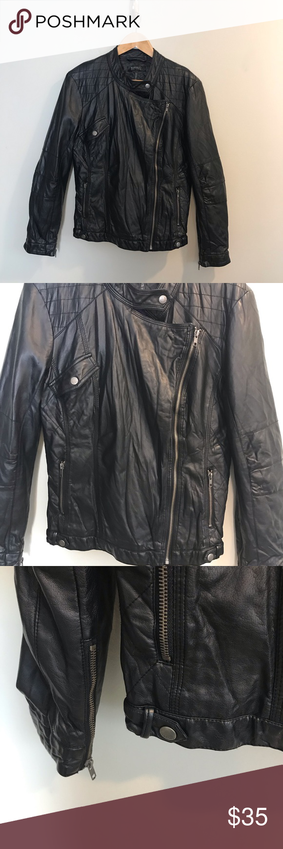 Buffalo David Bitton Black Motorcycle Jacket L Black Motorcycle Jacket Jackets Black Motorcycle