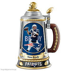 Celebrate your favorite quarterback with the Tom Brady Collector's Tribute Stein, a limited edition exclusively from The Bradford Exchange.
