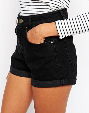 Agrandir ASOS - Mom - Short taille haute en jean - Noir 62ac601111b
