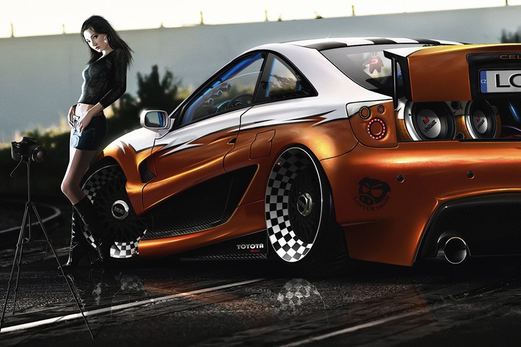 Toyota Celica Hot Girl Tuning Car Poster