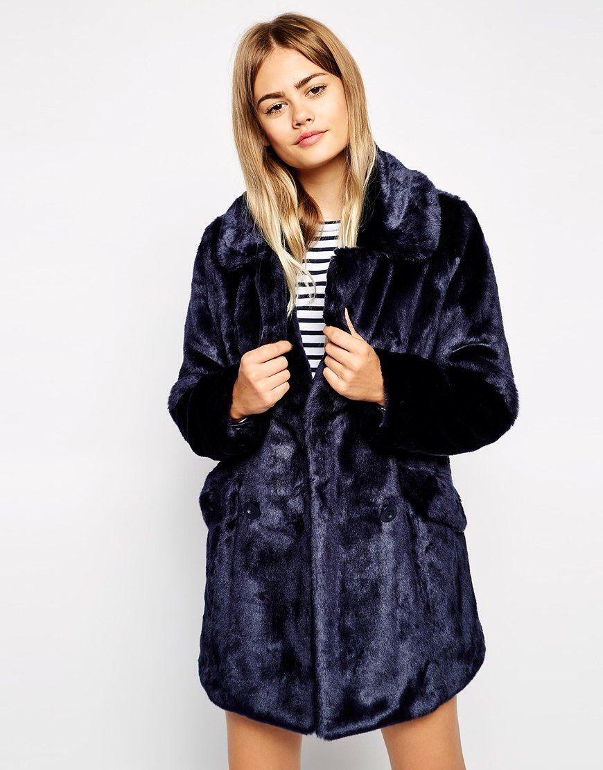 Faux fur dark blue cocoon coat Asos.