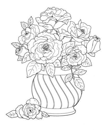 Coloring Book For Adult Floral Bouquets Nature Flower Basket Vase