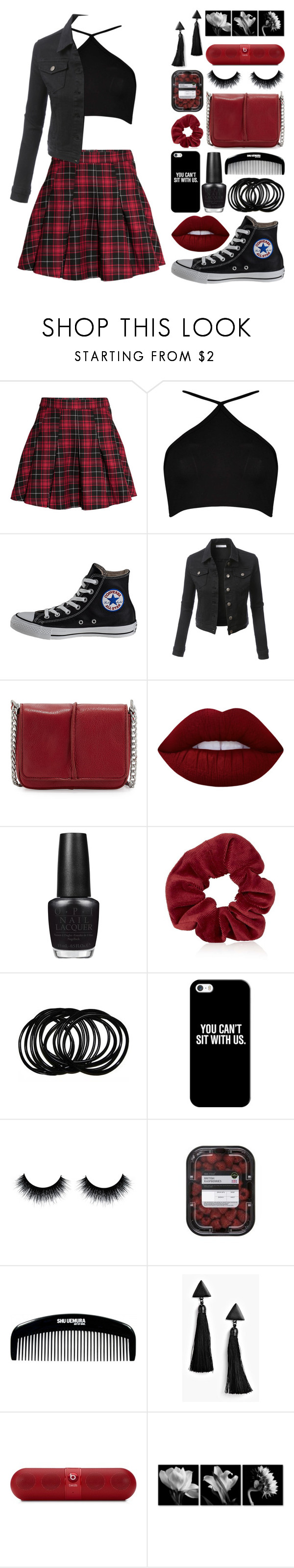 """""""You Can't Sit With Us"""" by meaganmuffins ❤ liked on Polyvore featuring H&M, Boohoo, Converse, LE3NO, Neiman Marcus, Lime Crime, OPI, Topshop, Casetify and Beats by Dr. Dre"""