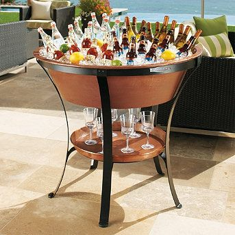 Frontgate Copper Beverage Tub and Stand