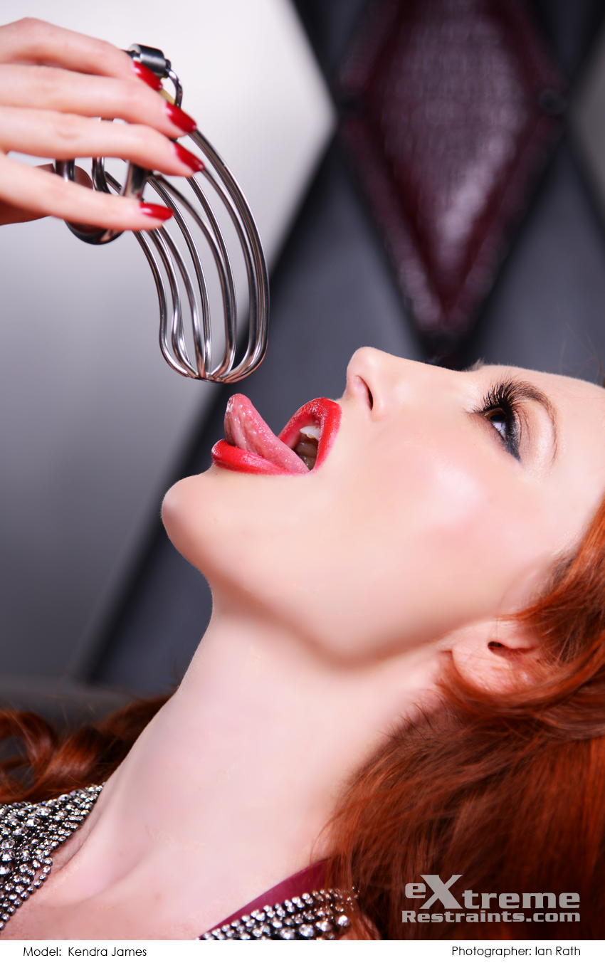 Kendra James With A Metal Chastity Cage Bdsm Dominatrix Sexy Kendrajames Chastity Redhead