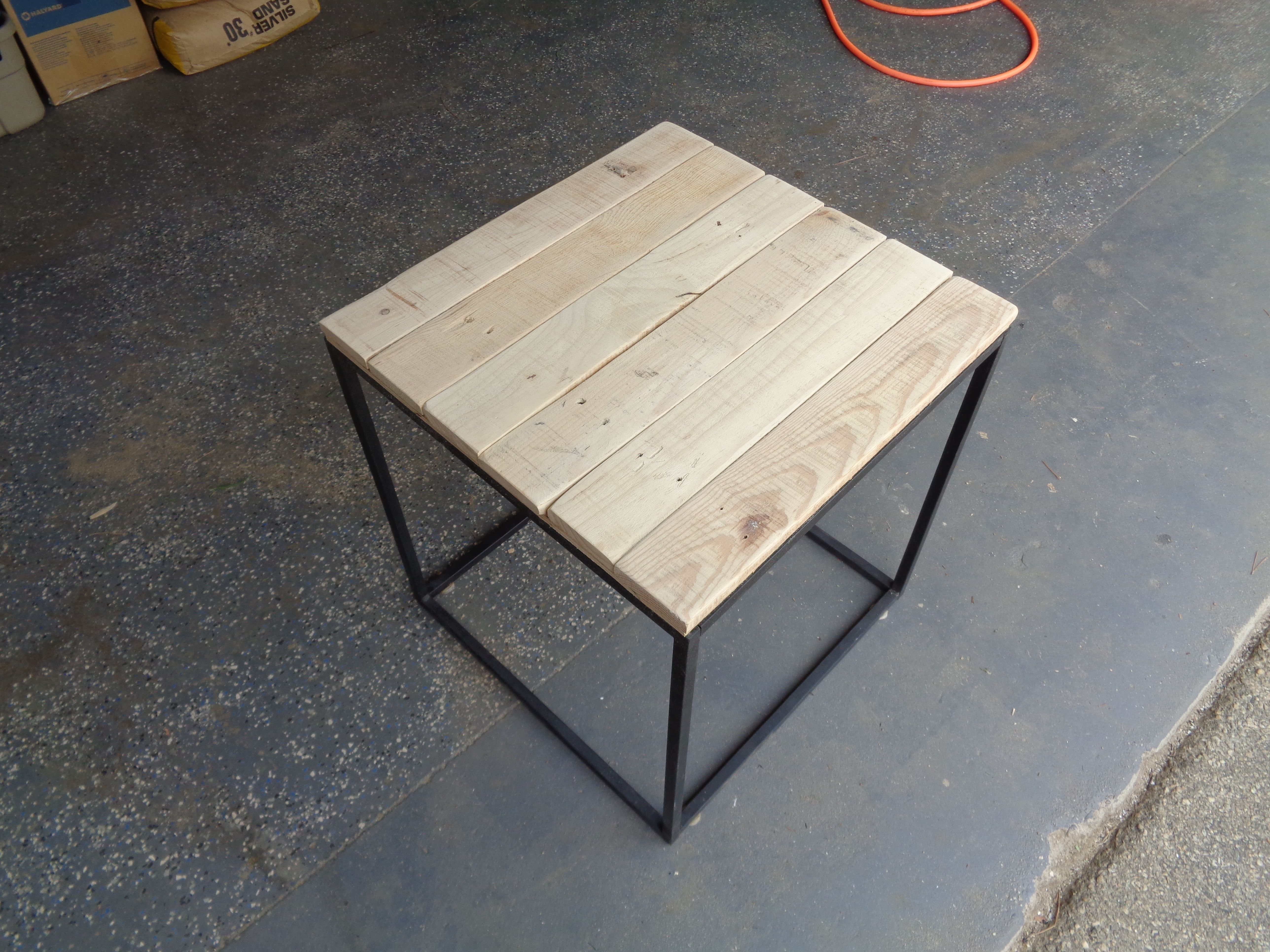 Cheap Walmart DIY table Re Painted added Replacement Pallet