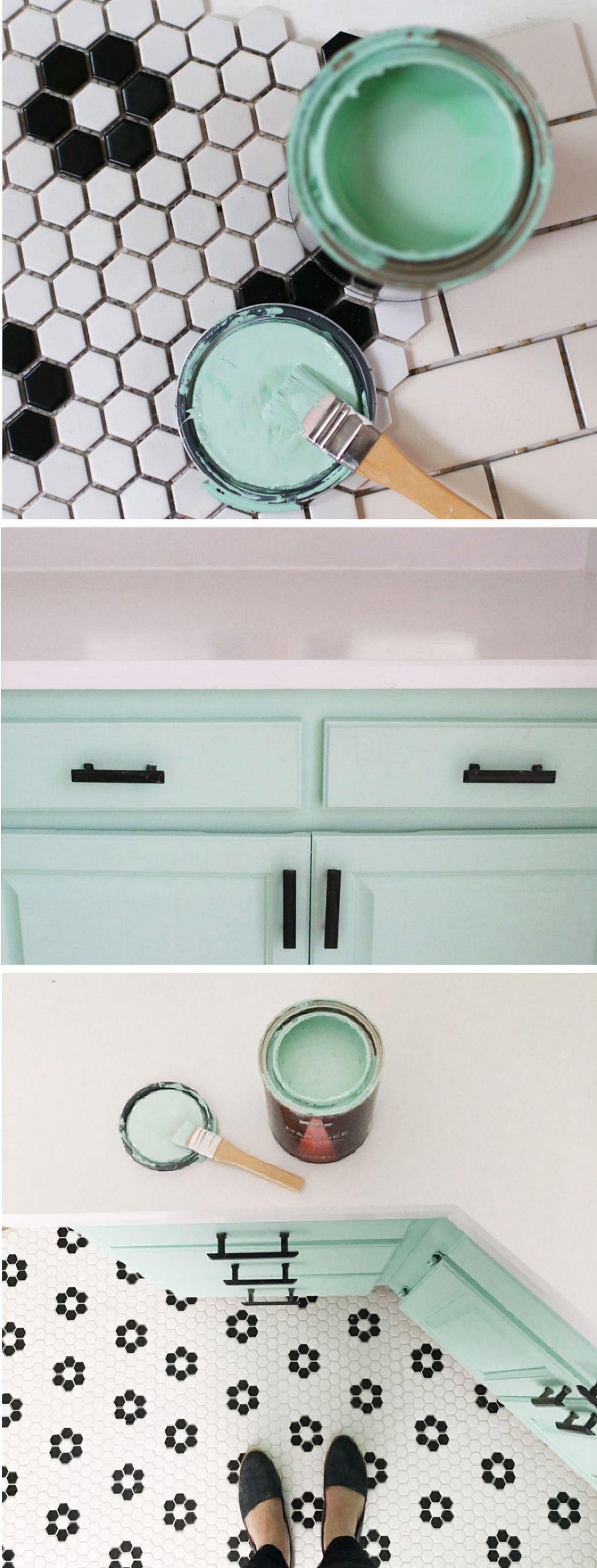 How to tile your bathroom floor / phase two | Retro vintage, Aqua ...