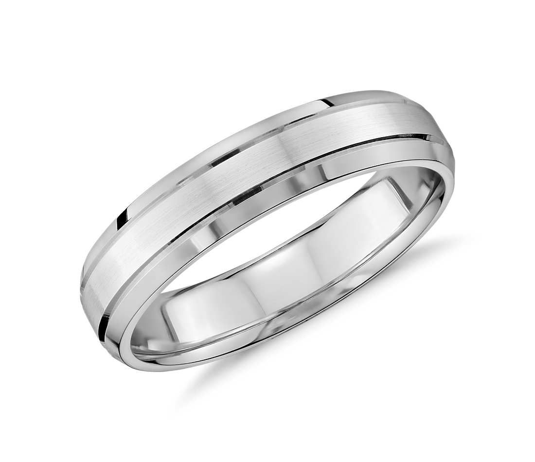 Double Inlay Comfort Fit Wedding Ring In 14k White Gold 5mm Blue Nile In 2020 Comfort Fit Wedding Ring Rings For Men Mens Wedding Rings