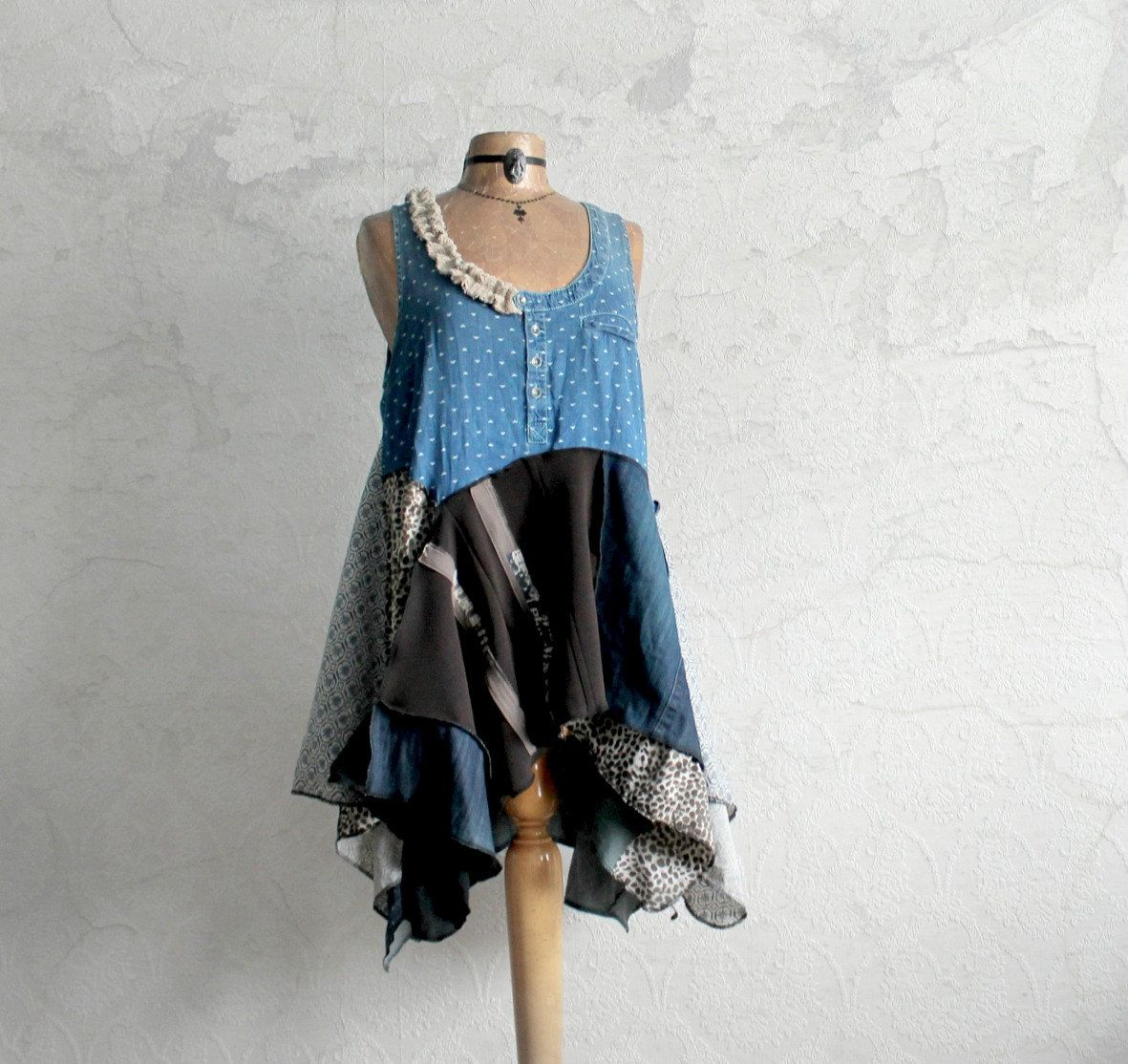 Lagenlook Tunic Upcycled Eco Shirt Bohemian Clothing Rustic Style Kerchief Top Denim Blue Womens Jumper Funky