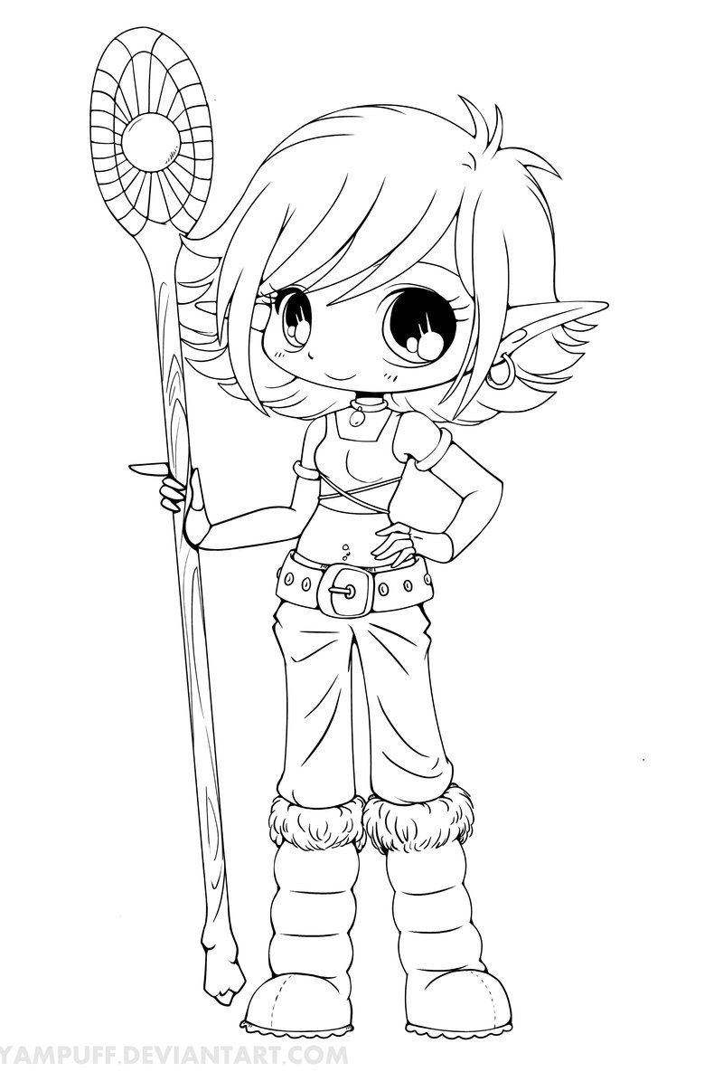 Lana Snow Elf Chibi Lineart by