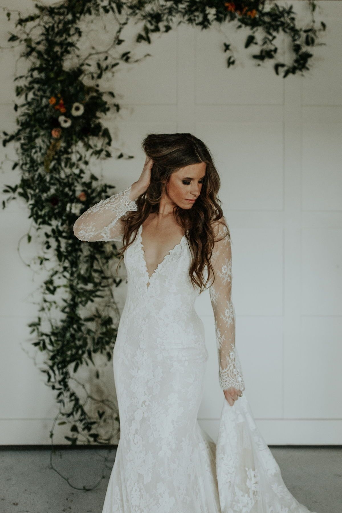 V neck long sleeve lace wedding dress from rosa clara see more