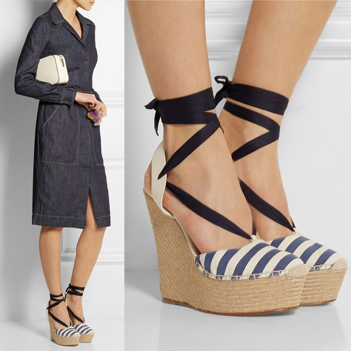 Womens lady Ankle Strappy Peep Toes Wedge Heel Stripe Shoes Sandals Plus Size