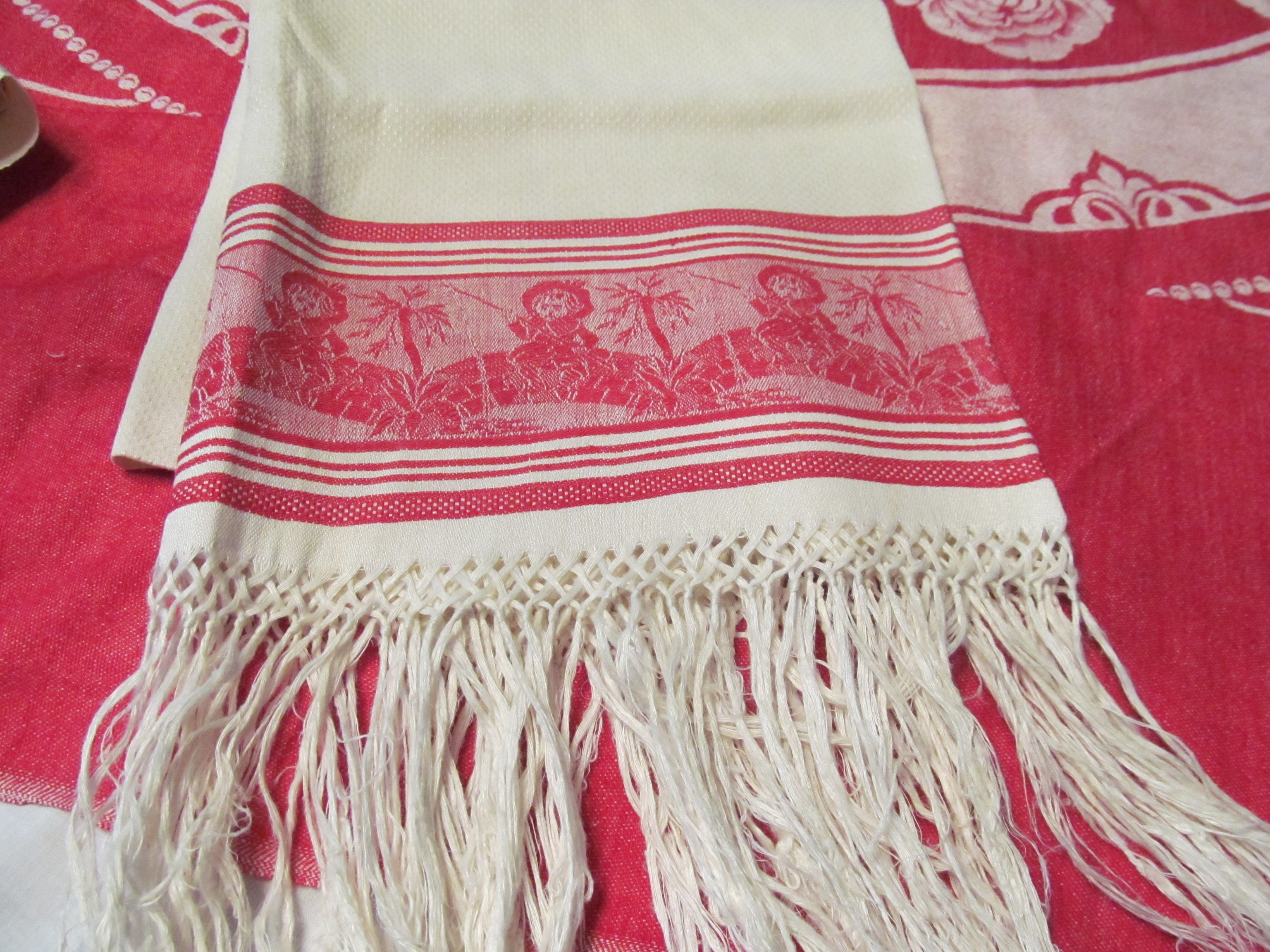 Antique Turkey Red Towel Red Towels Red Damask Red Toile