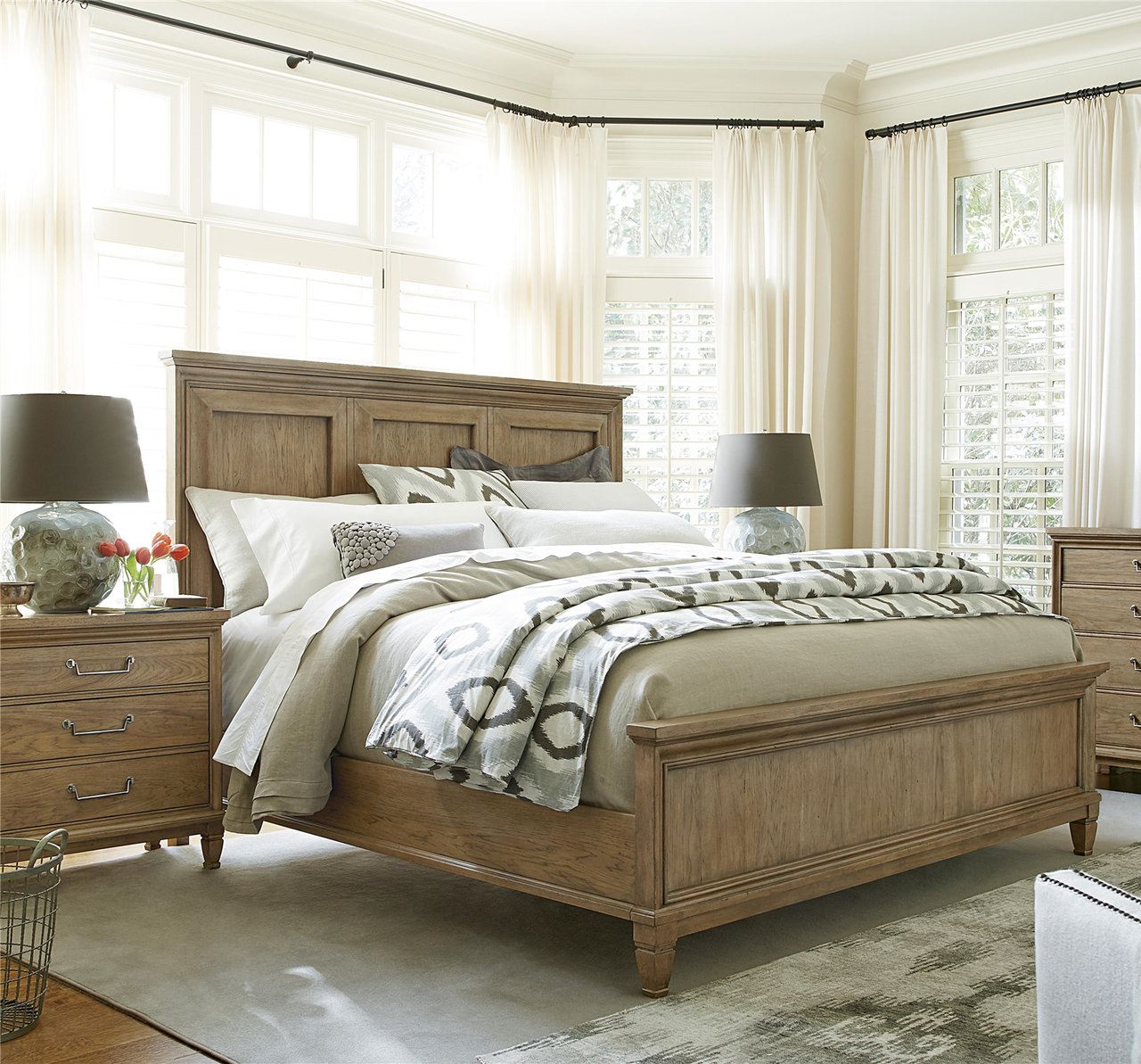 Gorgeous Bedroom Furniture: French Modern Hickory Wood Queen Panel Bed Frame