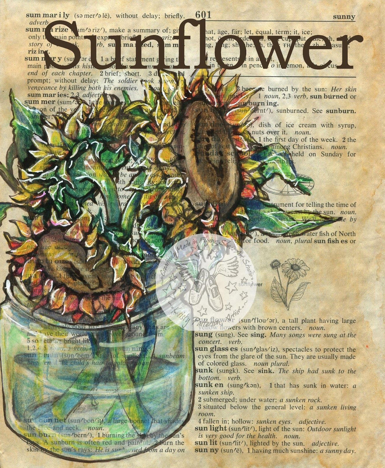 Sunflower mixed media drawing on antique dictionary page - flying shoes art studio