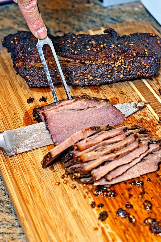 How To Make Smoked Brisket I Brine Dry Rub And Smoke Low And Slow With Cherry Wood The Subtle Flavors From The Fen Smoked Food Recipes Smoked Brisket Brisket