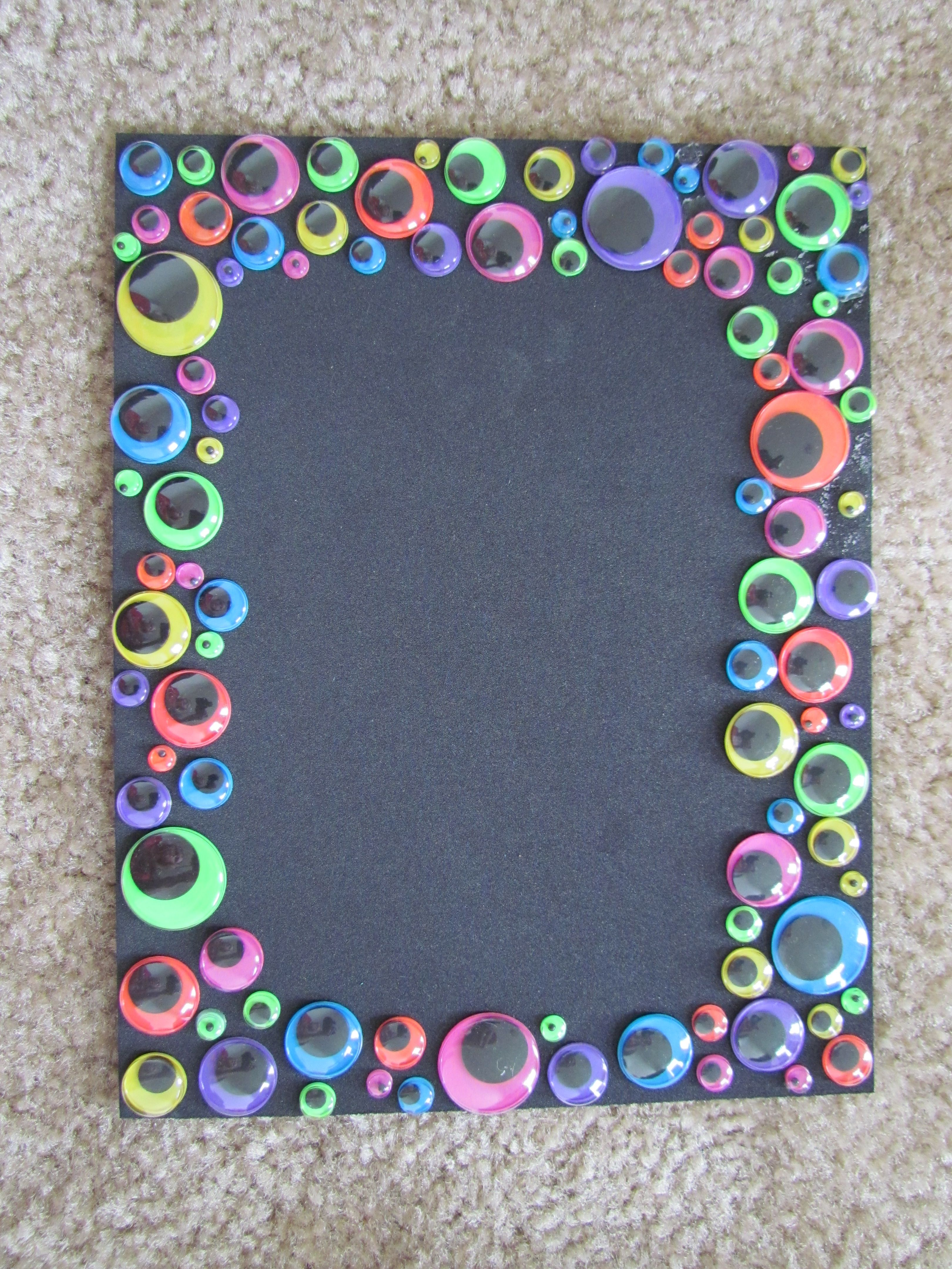 Monster favor: picture frame made from foam board with eyes ...
