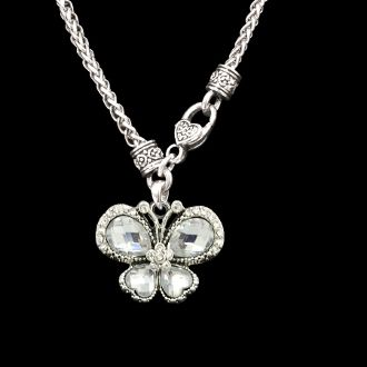 Clear Butterfly Decorative Clasp Necklace  All of our products are lead, nickel, and cadmium free and coated to protect from tarnishing. The charms are standard medium sized, and measure around one inch.
