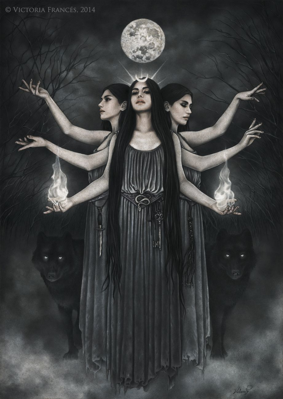 Hekate, Triple Goddess of the Moon, by victoria frances